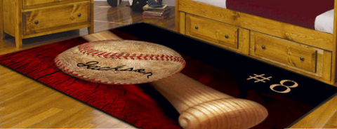 Custom Baseball Fuzzy Area Rug, Personalized, Blue - 2cooldesigns