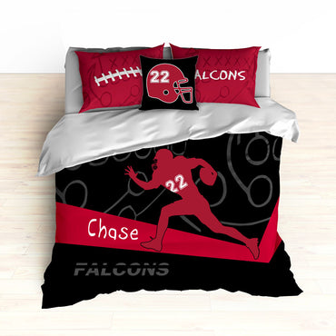 Falcons Bedding, Personalized Football Bedding, Black and Red Football Bedding - 2cooldesigns