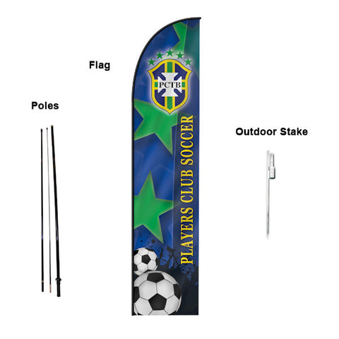 18' Feather Banner with Stand - Printed with Your Design - 2cooldesigns