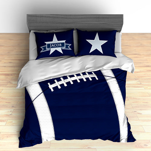 Personalized Football Team Colors Themed Bedding, Duvet or Comforter Sets, Navy Blue and White - 2cooldesigns