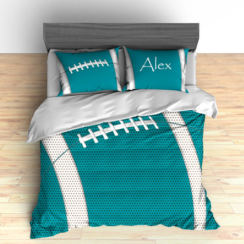 Personalized Football Team Colors Themed Bedding, Duvet or Comforter Sets, Orange and Teal - 2cooldesigns