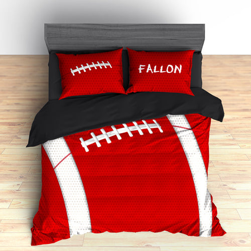 Personalized Football Team Colors Themed Bedding, Duvet or Comforter Sets, Red and Black - 2cooldesigns