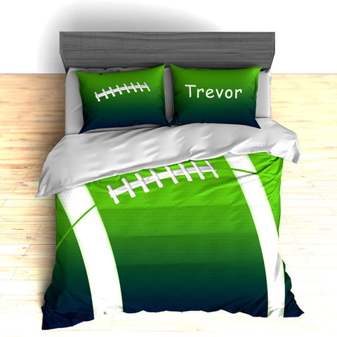 Personalized Football Team Colors Themed Bedding, Duvet or Comforter Sets, Green, Teal or Grey - 2cooldesigns