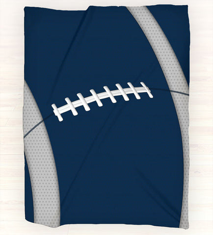 Personalized Fleece Blanket Throw - Football Throw Blanket - Team Colors - Navy, White, Grey - 2cooldesigns