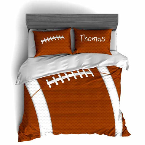 Personalized Football Team Colors Themed Bedding, Duvet or Comforter Sets, Brown and white - 2cooldesigns