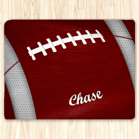 Custom Football Area Rug, Personalized, Team Colors, Crimson and White - 2cooldesigns