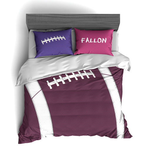 Personalized Football Team Colors Themed Bedding, Duvet or Comforter Sets, Purple and Pink - 2cooldesigns