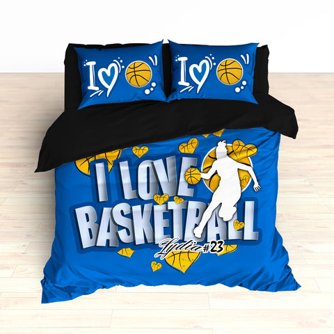 Royal Blue and Gold Basketball Hearts Bedding, Personalized, I Love Basketball, Duvet or Comforter - 2cooldesigns