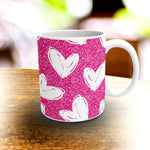 Valentines, Hand Drawn Hearts Pattern, Pink and White Coffee Mug 11oz. or 15oz.