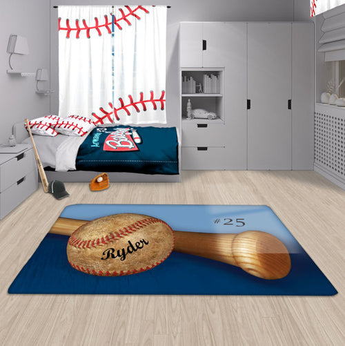 Personalized Baseball Area Rug, Custom, Fuzzy Rug - 2cooldesigns