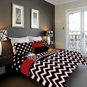 Personalized Softball Theme Bedding, Duvet or Comforter Sets, Red and Black Chevron