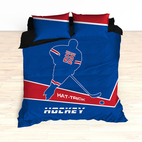 Hockey Bedding, Hat-Trick, Personalized Duvet or Comforter, Custom Hockey Bedding, Caps Bedding, Blue, Red, White, King, Queen, Twin - 2cooldesigns