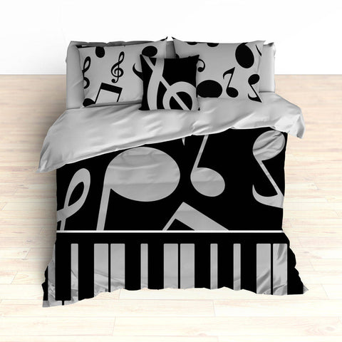 Musical Notes Bedding, Piano Keyboard Theme, Music Theme, Personalized, Teal Colors, Music Nursery, Musical Bedroom Decor, Music Notes Decor - 2cooldesigns