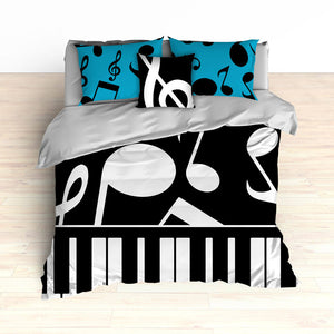 Musical Notes Bedding, Piano Keyboard Theme, Music Theme, Personalized, Teal Colors, Music Nursery, Musical Bedroom Decor, Music Notes Decor
