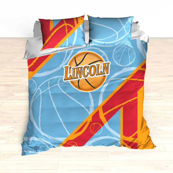 Basketball Stripes Bedding, Basketball Duvet, Basketball Comforter, Personalized, Blue, Red, Orange, Basketball, King, Twin, Queen, Toddler