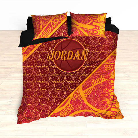 Basketball Word Art Bedding, Basketball Duvet, Basketball Comforter, Personalized, Garnet, Yellow, Basketball, King, Twin, Queen, Toddler - 2cooldesigns