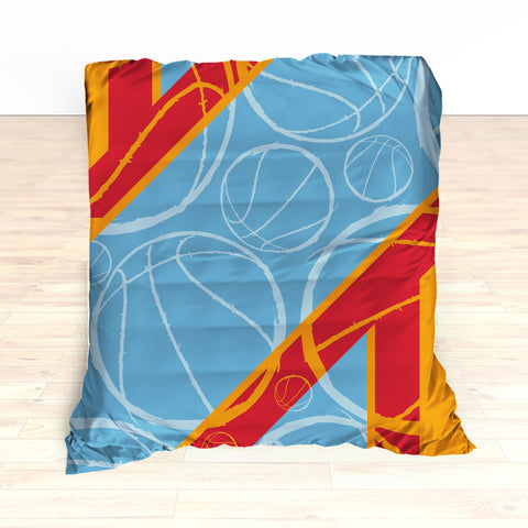 Basketball Stripes Bedding, Basketball Duvet, Basketball Comforter, Personalized, Blue, Red, Orange, Basketball, King, Twin, Queen, Toddler - 2cooldesigns