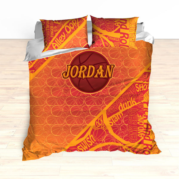 Personalized Basketball Word Art Bedding, Basketball Duvet, Basketball Comforter, Crimson, Yellow, Basketball, King, Twin, Queen, Toddler
