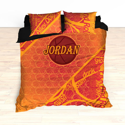 Personalized Basketball Word Art Bedding, Basketball Duvet, Basketball Comforter, Crimson, Yellow, Basketball, King, Twin, Queen, Toddler - 2cooldesigns