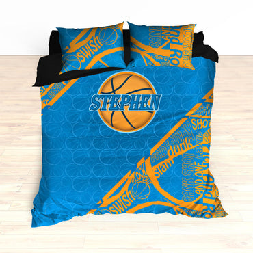 Custom Basketball Word Art Bedding, Basketball Duvet, Basketball Comforter, Blue, Yellow, Basketball, King, Twin, Queen, Personalized - 2cooldesigns
