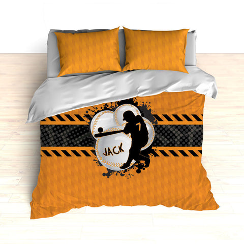 Baseball Bedding, Orange, Grey and Black, Weave Pattern, Splash Paint Design, Personalized, Duvet, Comforter, King, Twin, Queen, Toddler - 2cooldesigns
