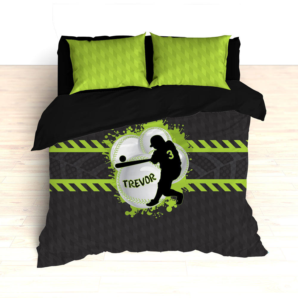 Baseball Bedding, Green, Gray, Black, Weave Pattern, Splash Paint Design, Personalized, Duvet, Comforter, King, Twin, Queen, Toddler, Grey - 2cooldesigns