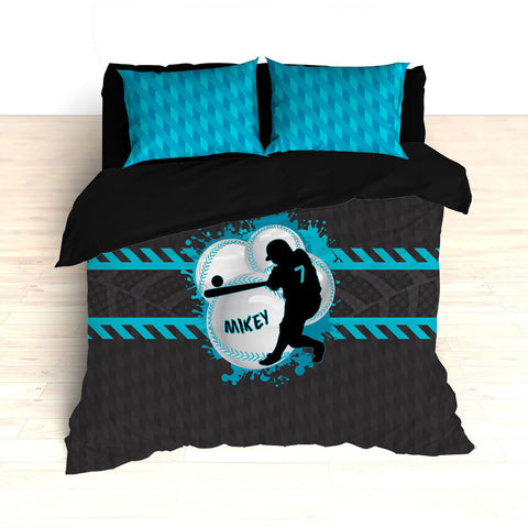 Baseball Bedding, Blue, Gray, Black, Weave Pattern, Splash Paint Design, Personalized, Duvet, Comforter, King, Twin, Queen, Toddler, Grey - 2cooldesigns