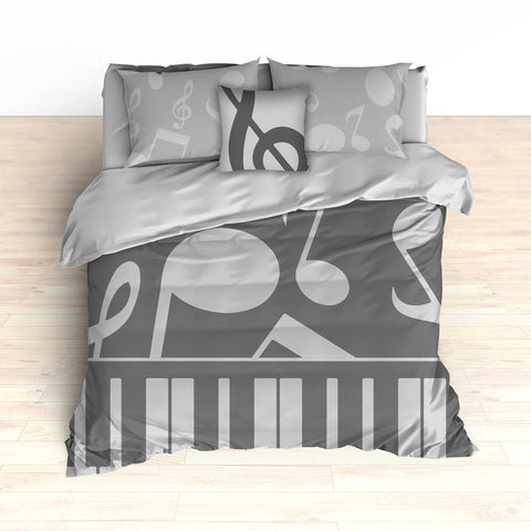 Music Notes Bedding, Piano Keyboard Theme, Music Theme, Personalized, Silver Colors, Music Nursery, Musical Bedroom Decor, Music Notes Decor - 2cooldesigns
