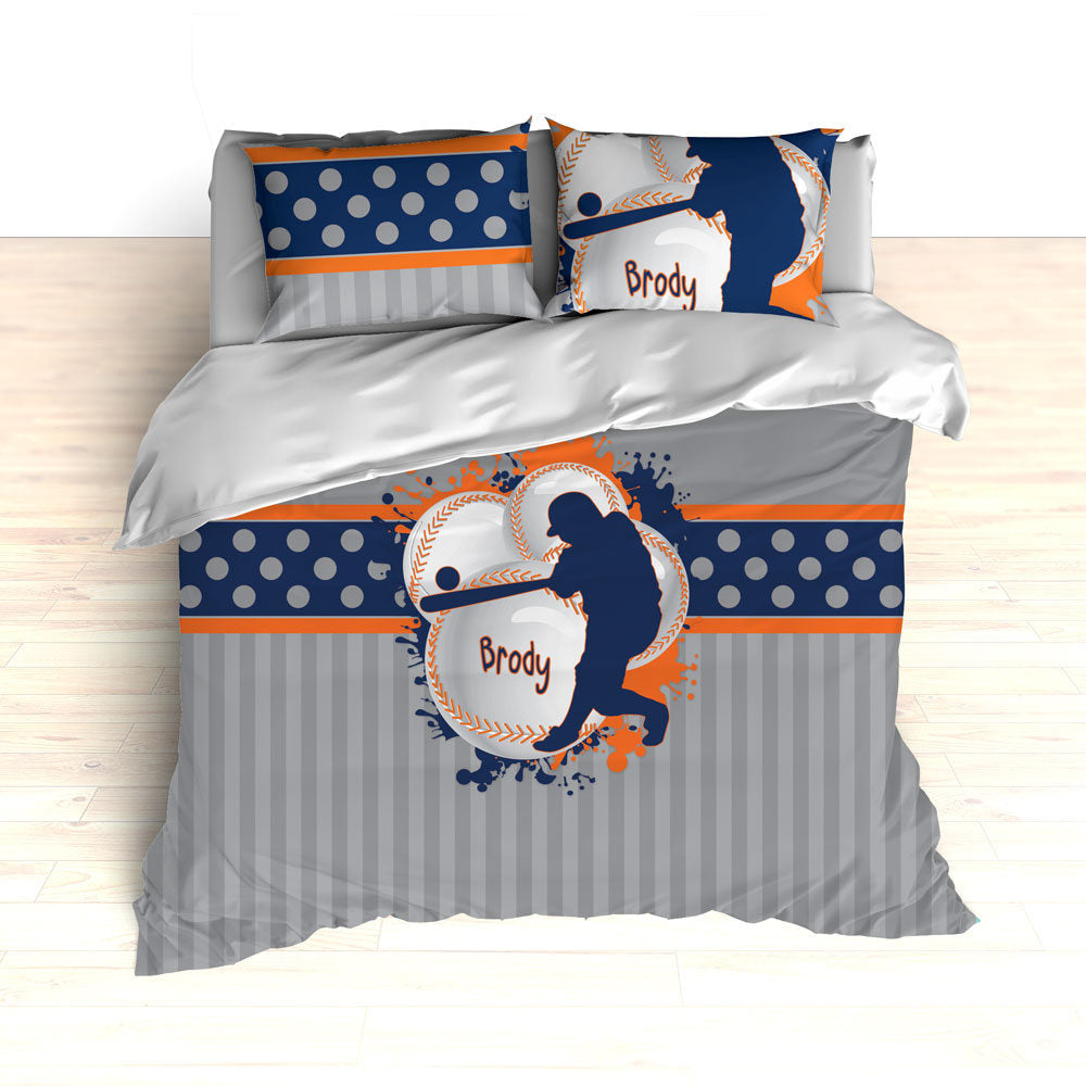 Orange and Navy Baseball Bedding, Personalized Baseball Theme Bedding, Duvet, Comforter, King, Twin, Queen, Toddler, Nursery, Any Team Color - 2cooldesigns