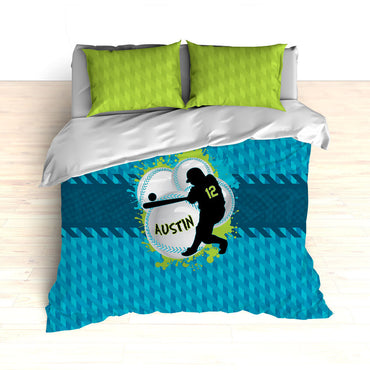 Baseball Bedding, Blue, Teal and Green, Weave Pattern, Splash Paint Design, Personalized, Duvet, Comforter, King, Twin, Queen, Toddler - 2cooldesigns
