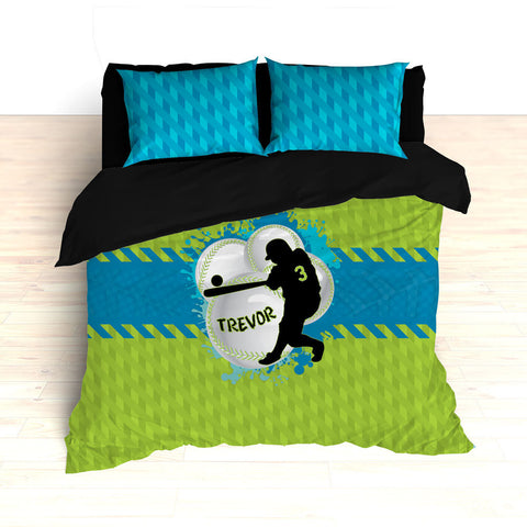 Baseball Bedding, Green, Blue and Teal, Weave Pattern, Splash Paint Design, Personalized, Duvet, Comforter, King, Twin, Queen, Toddler - 2cooldesigns