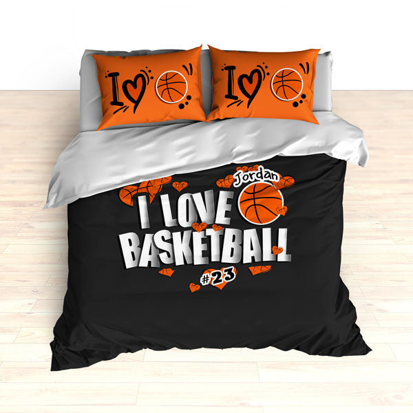 Personalized Basketball Bedding, I Love Basketball Hearts Bedding