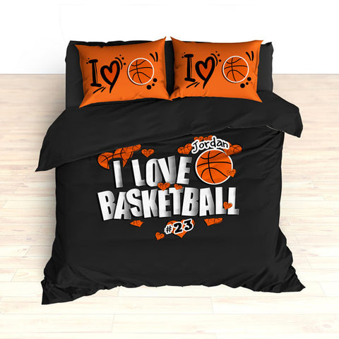 Personalized Basketball Bedding, I Love Basketball Hearts Bedding - 2cooldesigns
