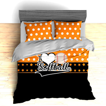 I Love Softball Theme Bedding, Duvet or Comforter Sets - 2cooldesigns