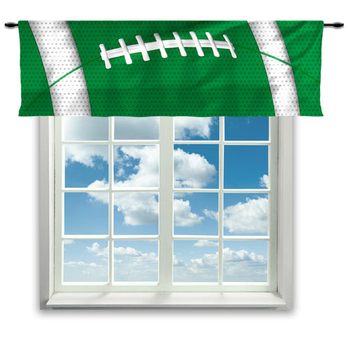 Football Team Colors Window Curtain or Valance, Green and White - 2cooldesigns