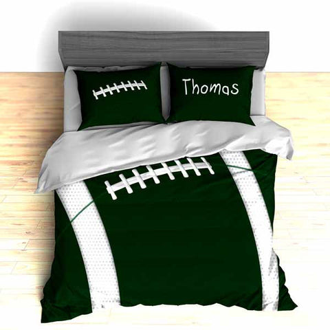 Personalized Football Team Colors Themed Bedding, Duvet or Comforter Sets, Green and White - 2cooldesigns