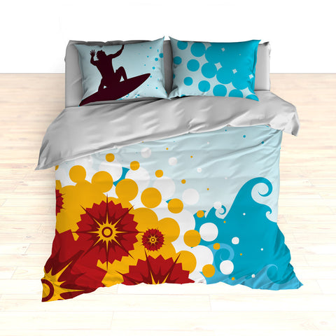 Personalized Surf Bedding, Colossal Wave Surfing, Duvet or Comforter Set - 2cooldesigns