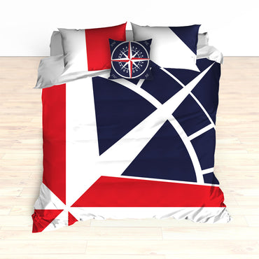Nautical Compass Bedding, Duvet or Comforter Set - 2cooldesigns