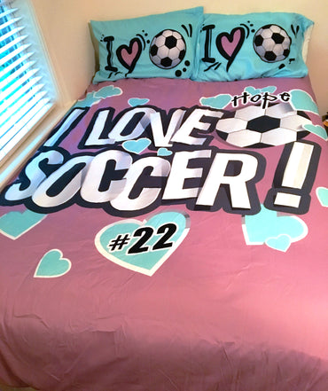 I Love Soccer Theme Bedding, Duvet or Comforter Sets, Mauve and Teal - 2cooldesigns