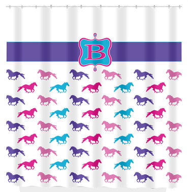 Horse Shower Curtain, Pink, Purple Teal Horses, Personalized - 2cooldesigns