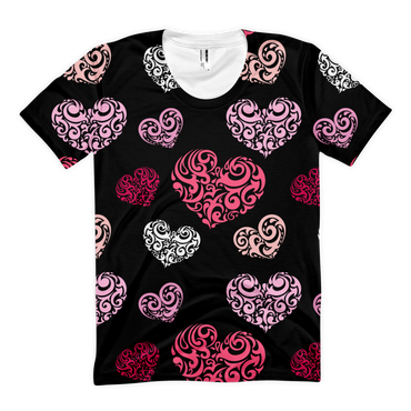 Abstract Hearts, All Over Print, Women's sublimation t-shirt - 2cooldesigns