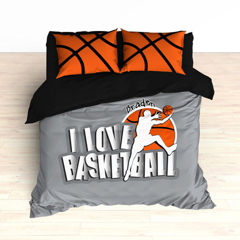 Personalized Basketball Bedding, Grey, Custom - 2cooldesigns