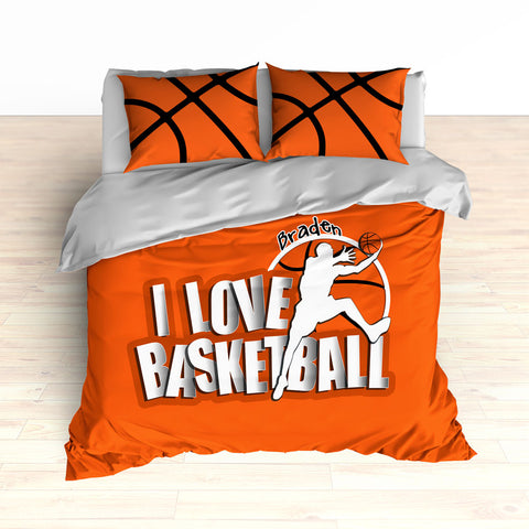 Orange Basketball Bedding, Custom, Personalized - 2cooldesigns