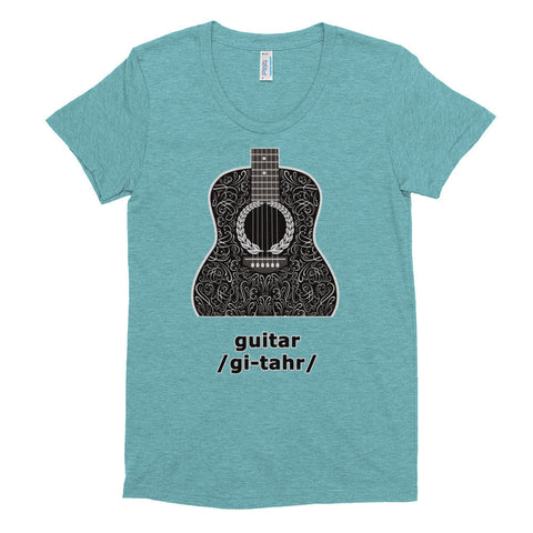 Guitar Tri Blend Women's short sleeve soft t-shirt - 2cooldesigns