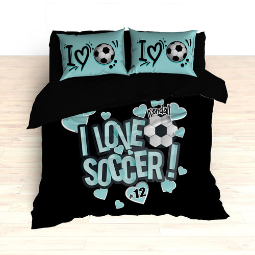 I Love Soccer Theme Bedding, Duvet or Comforter Sets - 2cooldesigns