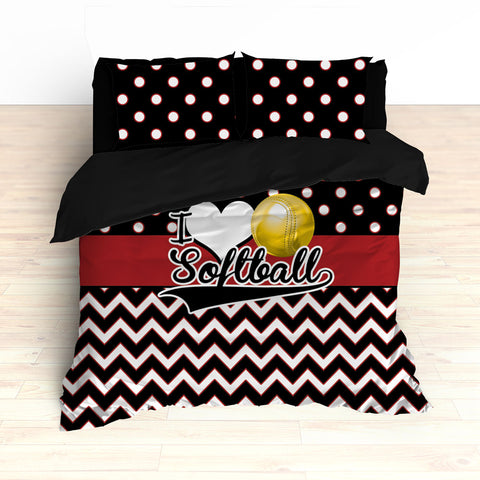 Personalized Softball Theme Bedding, Duvet or Comforter Sets, Red and Black Chevron - 2cooldesigns
