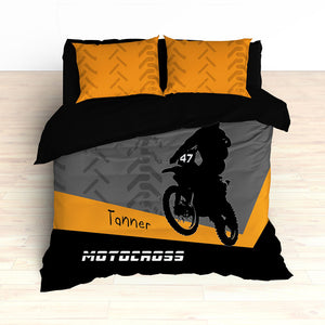 Personalized Motocross Comforter or Duvet, Motocross Bedding, Dirt Bike, Freestyle Motocross, Orange