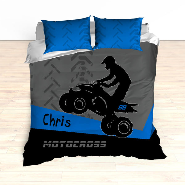 ATV Dirt Bike Quad Motocross Bedding Blue