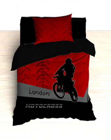 Personalized Motocross Comforter or Duvet, Motocross Bedding, Dirt Bike, Freestyle Motocross, Red and Black - 2cooldesigns