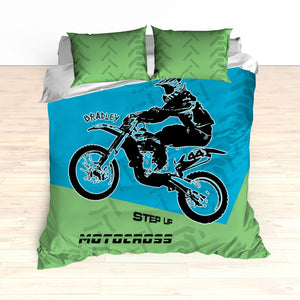 Motocross Bedding Personalized, Comforter, Duvet, Dirt Bike, Freestyle, Green, Blue